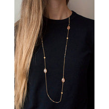 Load image into Gallery viewer, Gold Long Necklace with Labradorite, Peach Moonstone and Fresh Water Pearls - Roma Gift & Gourmet