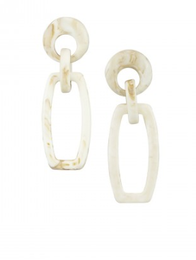 Ivory Rectangle Earrings