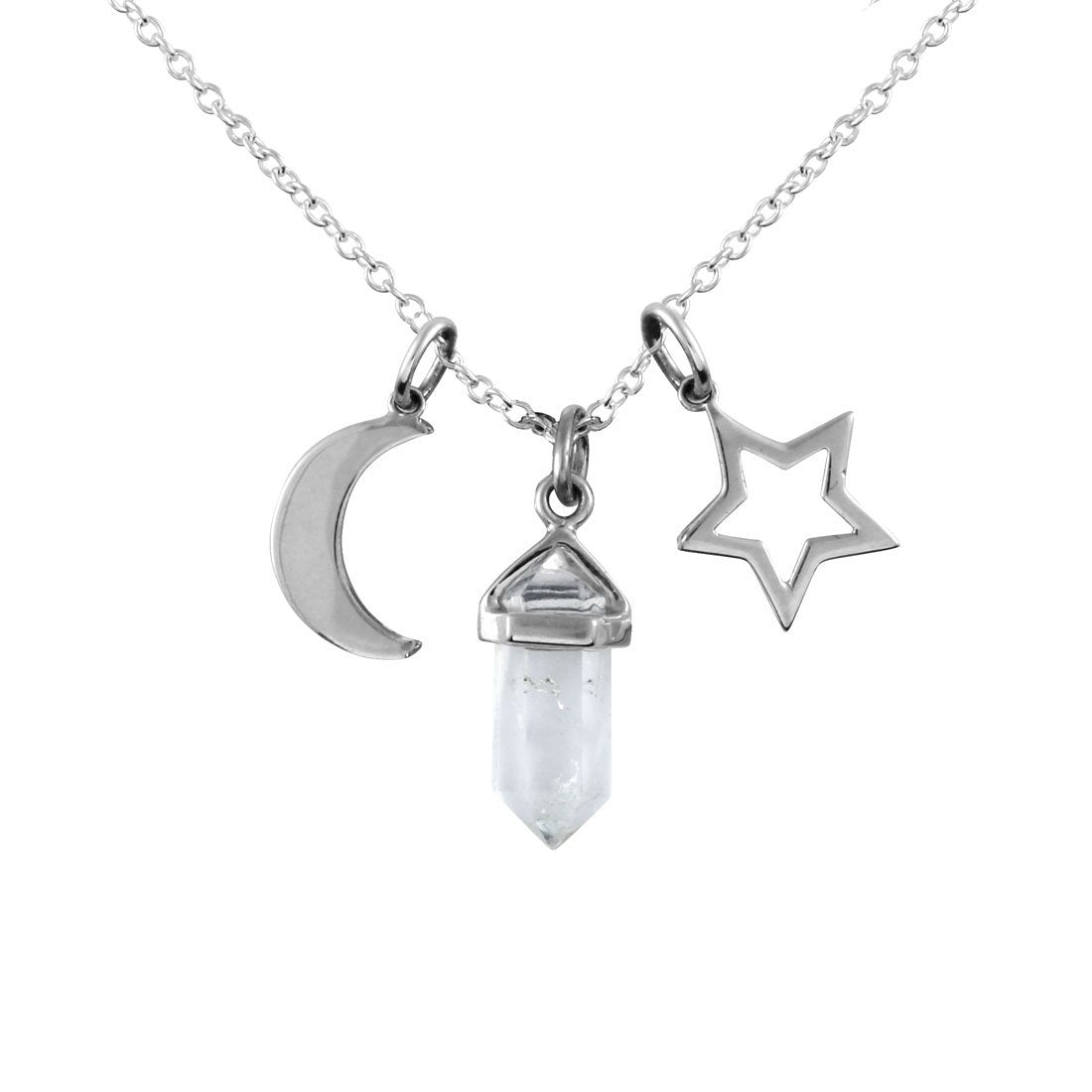 Crystal Moon Star Charm Necklace