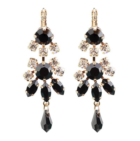Jet and Clear Crystal Earrings