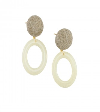 Ivory Oval Resin Earrings