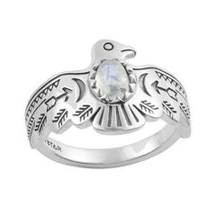 Rainbow Moonstone Arizona Thunderbirds Ring