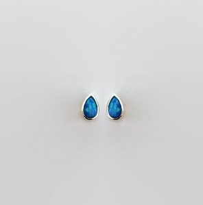 Ear Stud Teardrop Blue Opalite