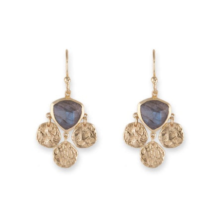 Gold Tri Disc with Labradorite Earrings - Roma Gift & Gourmet