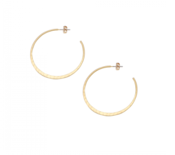 Gold Open Circle Hammered Hoops