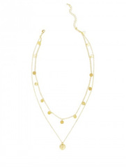 Gold Double Up Coin Necklace