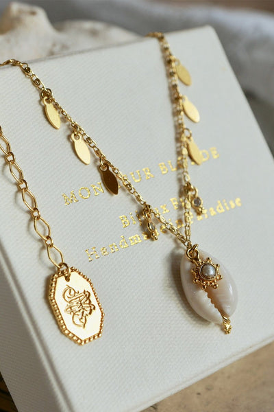 Scent of Ocean Water Necklace - Brass Gold Plated