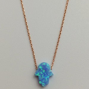 Necklace Hand Synthetic Blue Opalite Necklace