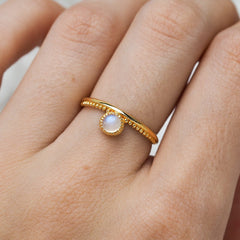 Gold Parallel Worlds Moonstone Ring