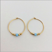 Load image into Gallery viewer, White Opalite Hoop Earring - Roma Gift & Gourmet