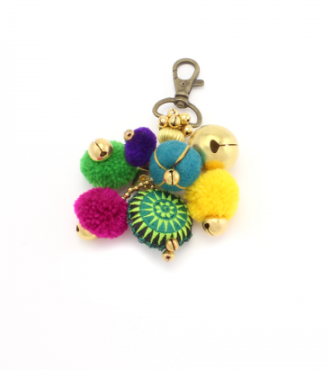 Bells & PomPom Key Chain
