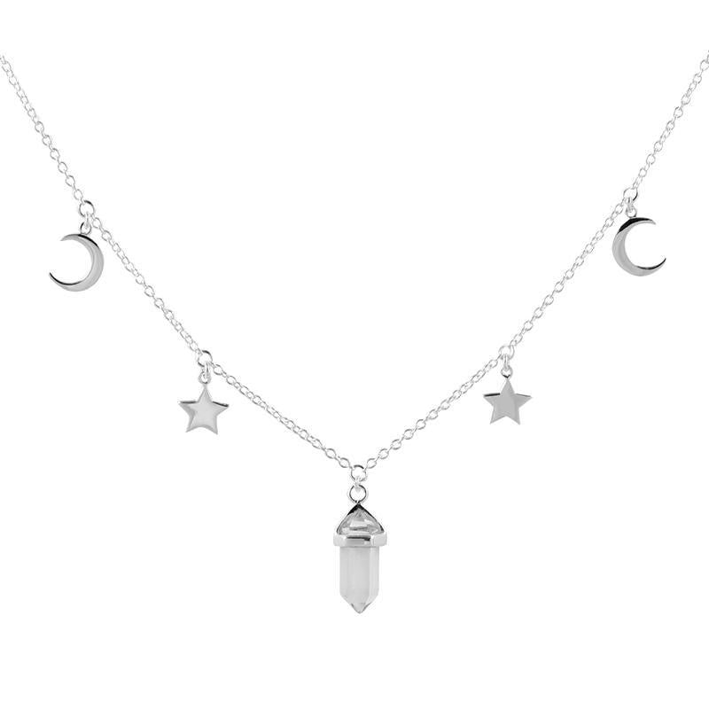 Crystal Star Moon Chocker Necklace