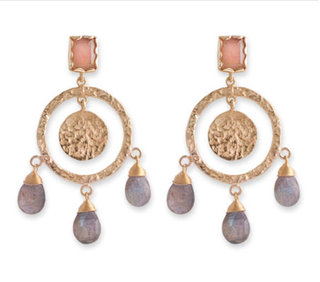 Gold Labradorite & Peach Moonstone Statement Earring