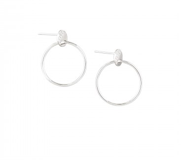 Silver Half Crystal and Hoop Earring
