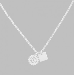 Silver Flower & Square Necklace