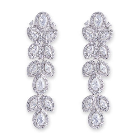 CZ Long Petal Drop Earrings