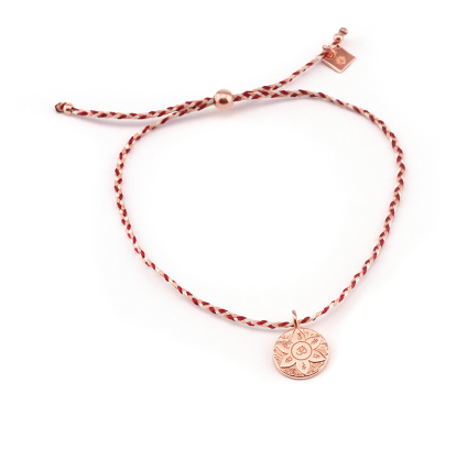 Rose Gold Harmony Cord Red Bracelet