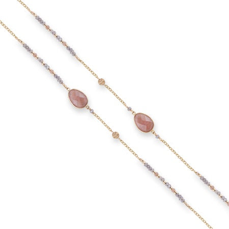 Gold Long Necklace with Labradorite, Peach Moonstone and Fresh Water Pearls