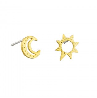 Gold Sun and Moon Studs
