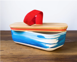 Lunch Box with Blue Wave Design