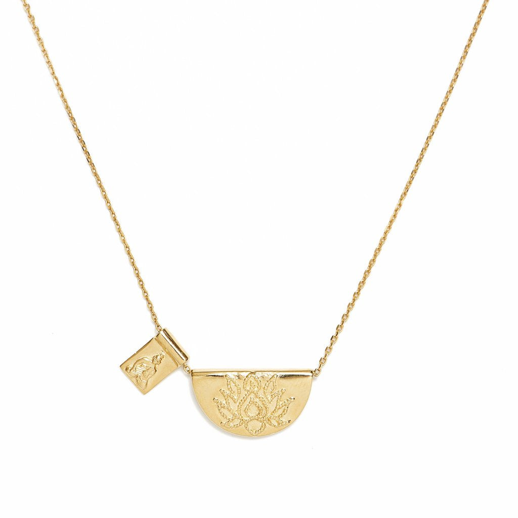 Gold lotus and little buddha short necklace roma gift gourmet gold lotus and little buddha short necklace mozeypictures Image collections