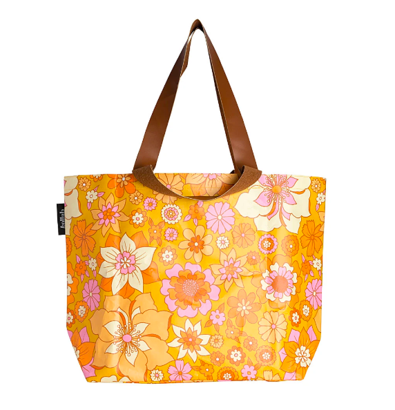 Poly Shopper Tote Retro Mustard Floral - Roma Gift & Gourmet
