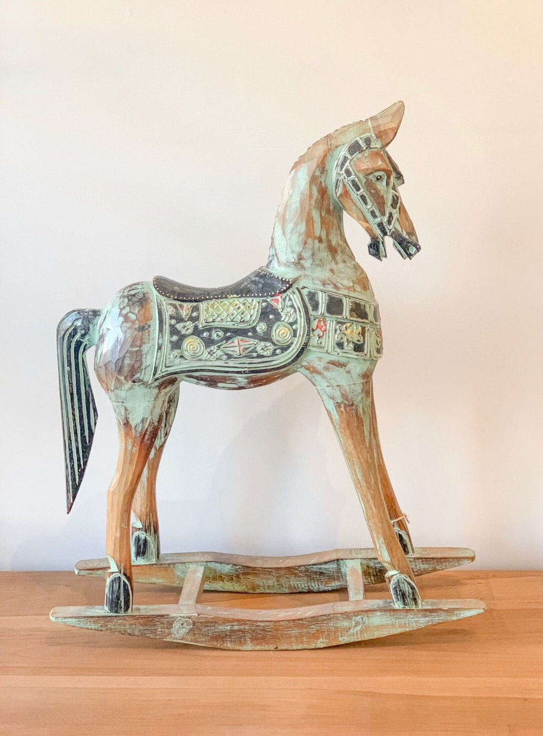 Carved Wooden Rocking Horse - Roma Gift & Gourmet