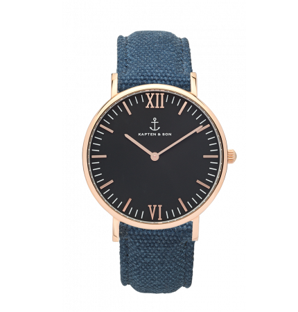40mm Campus Black Blue Canvas Watch