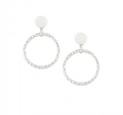 Silver Hammered Ring Earring