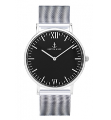 40mm Campus Silver Black Mesh Watch