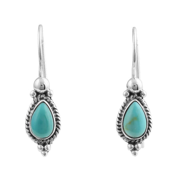Braided Bezel Pear Shape Turquoise Earrings