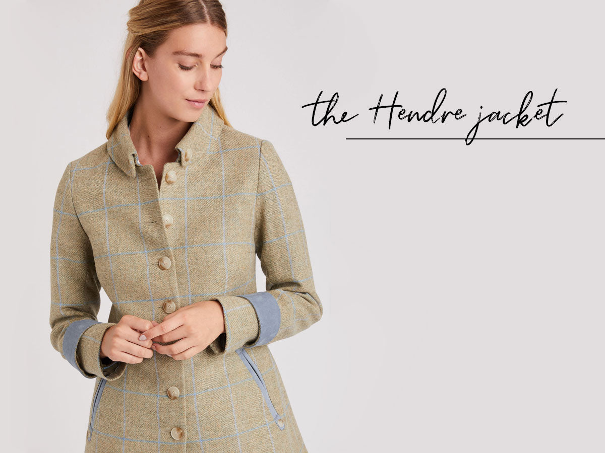 Hendre jacket in green with blue check