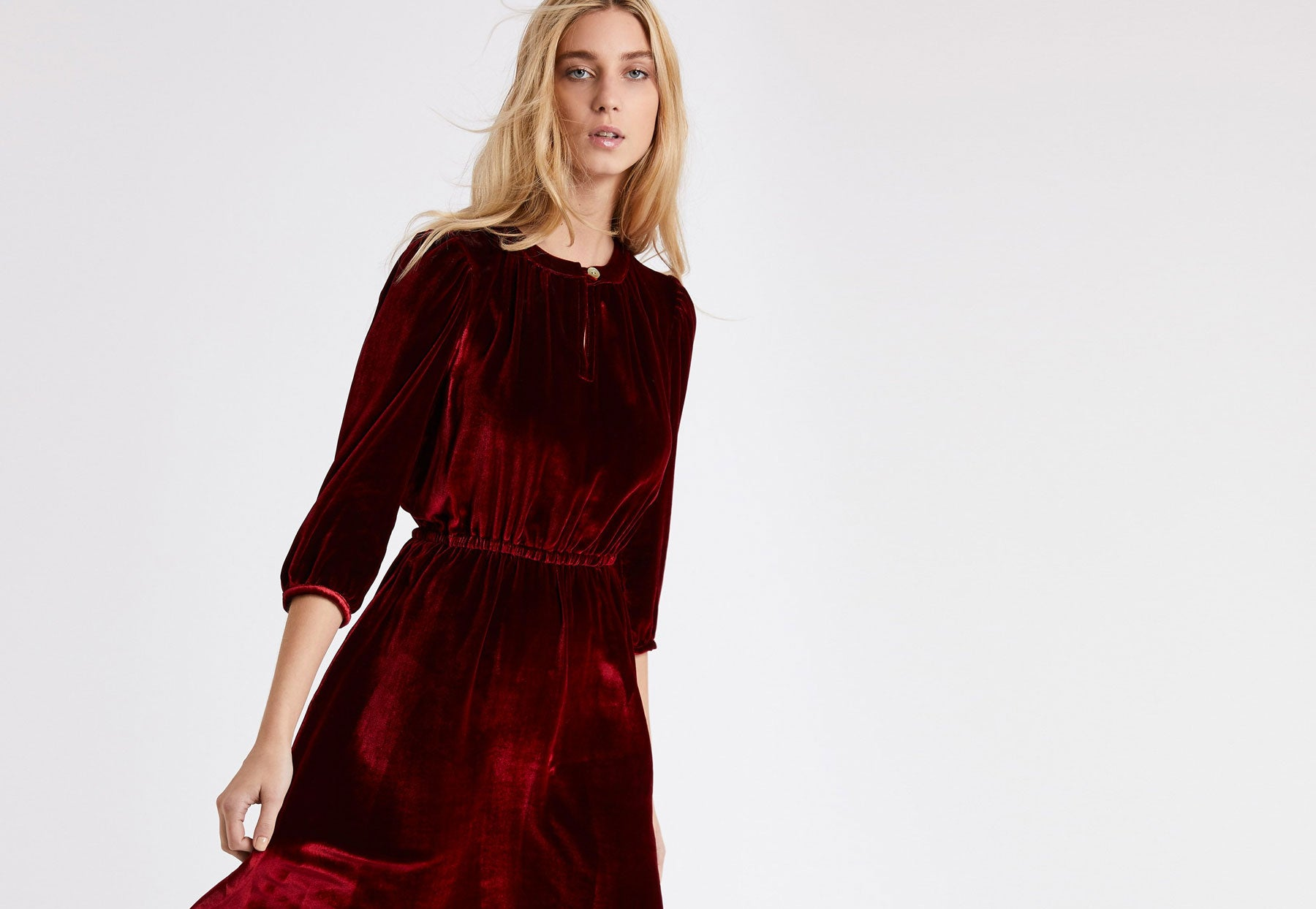 Sadie Dress in Dark Red Silk Velvet