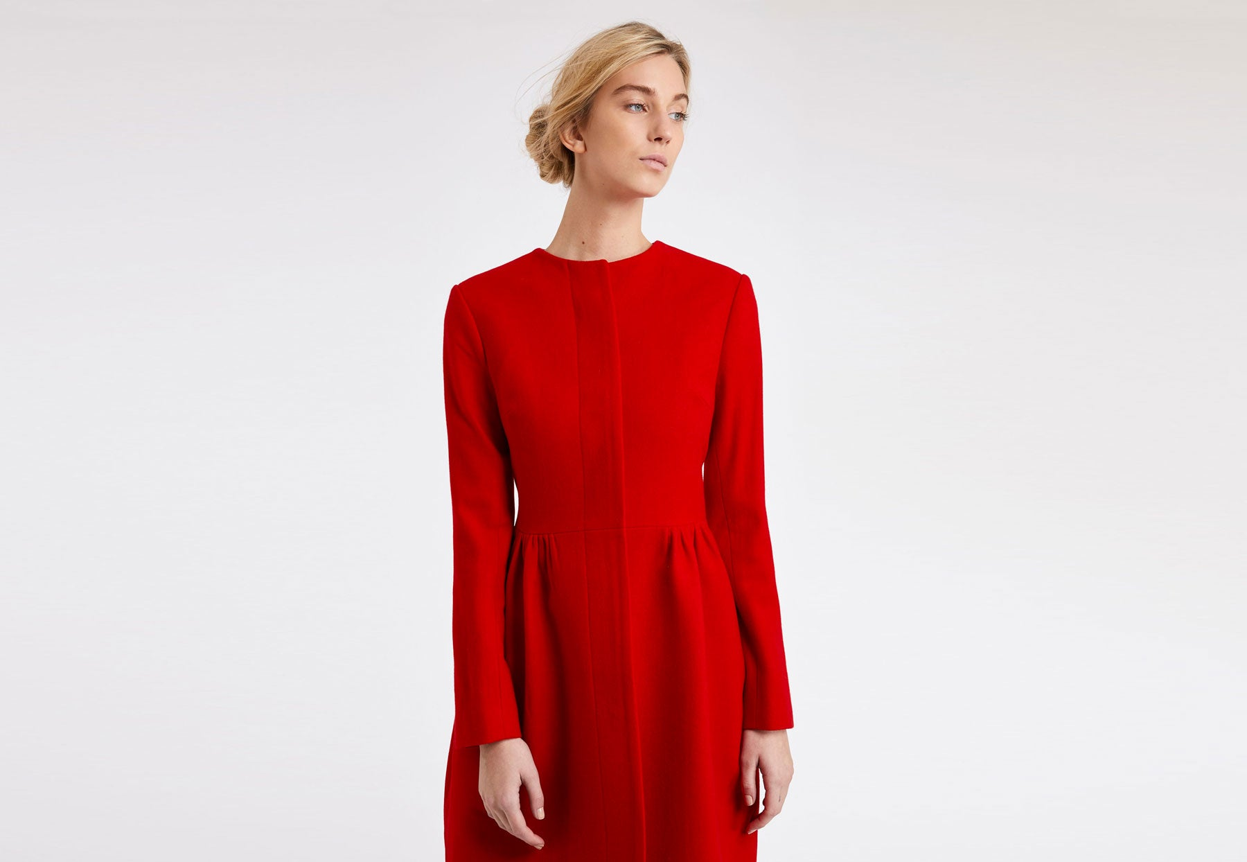Skirted Coat in scarlet red