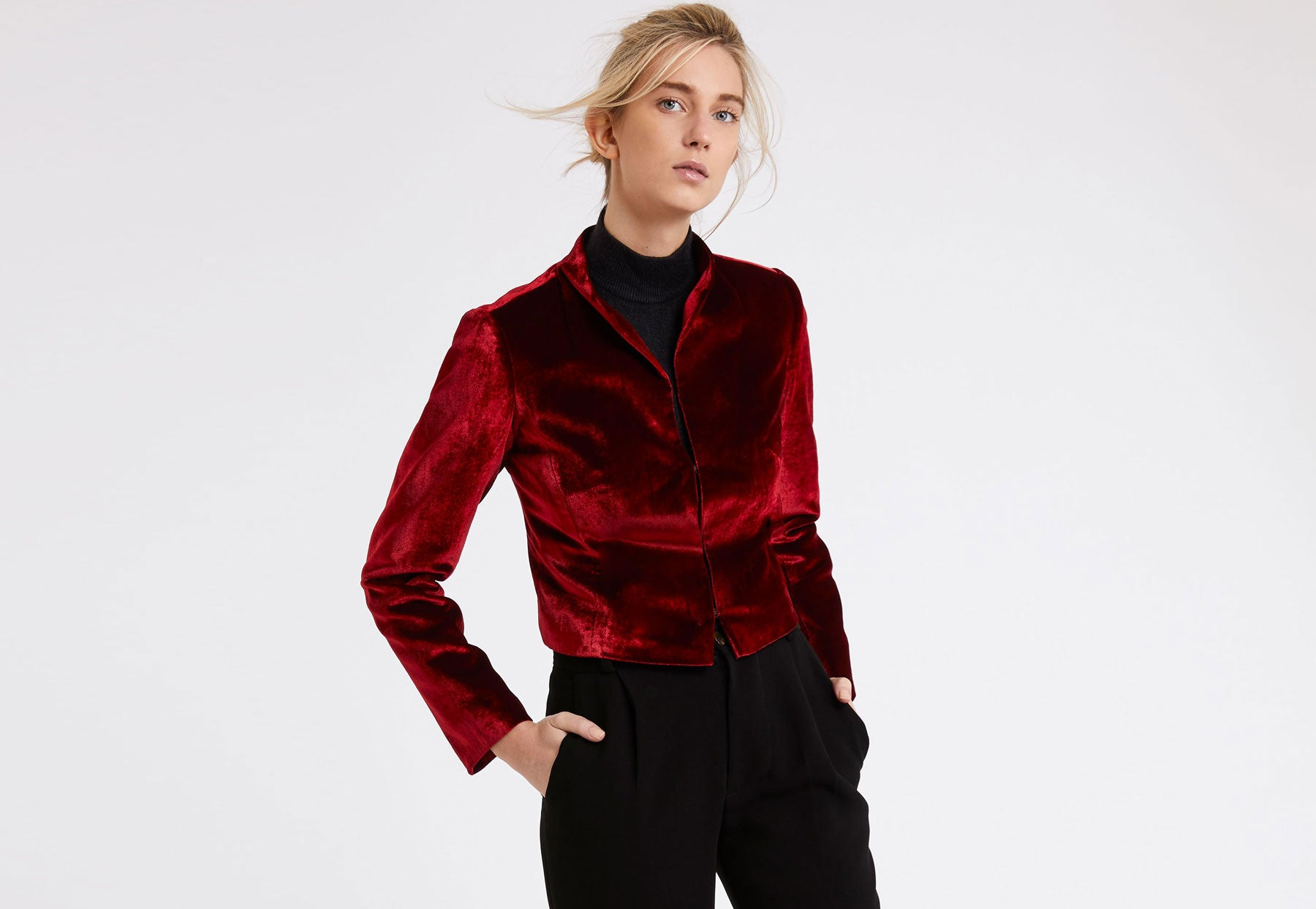 Tasha Jacket in Dark Red Silk Velvet