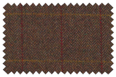 Brown Herringbone with Red Check