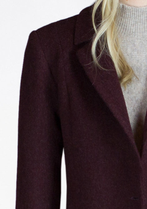 burgundy woollen coat