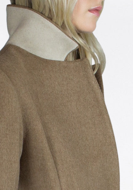 beige thick wool coat