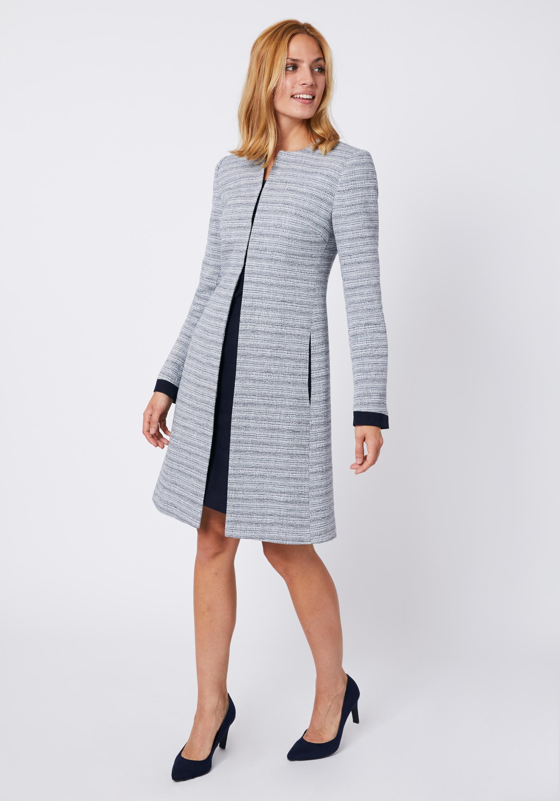 Tallulah Coat in Navy Linen Blend