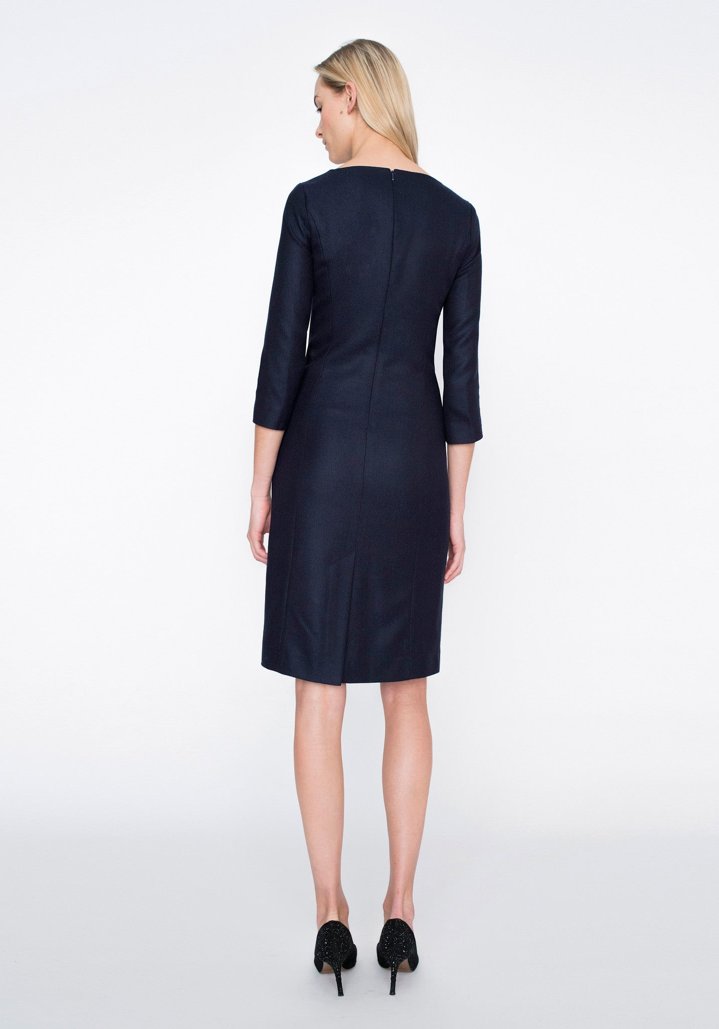 Ascot Dress | Navy Herringbone