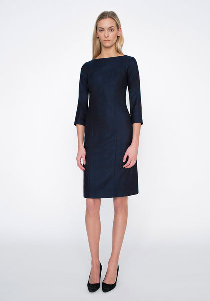 Ascot Dress in Navy Herringbone