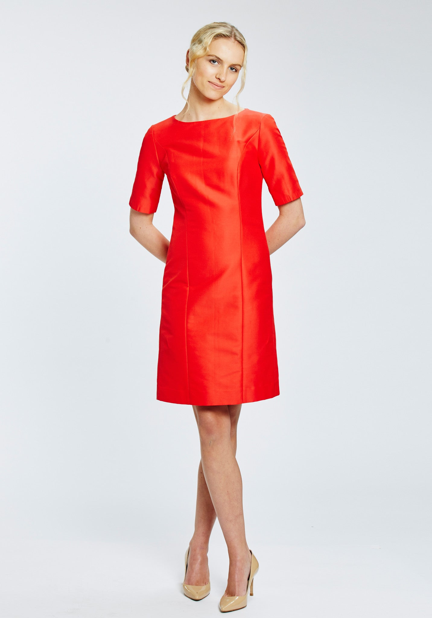 Ascot Dress in Red Silk