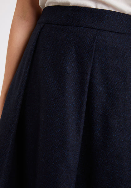 Flared Skirt in Navy with Sapphire Fleck