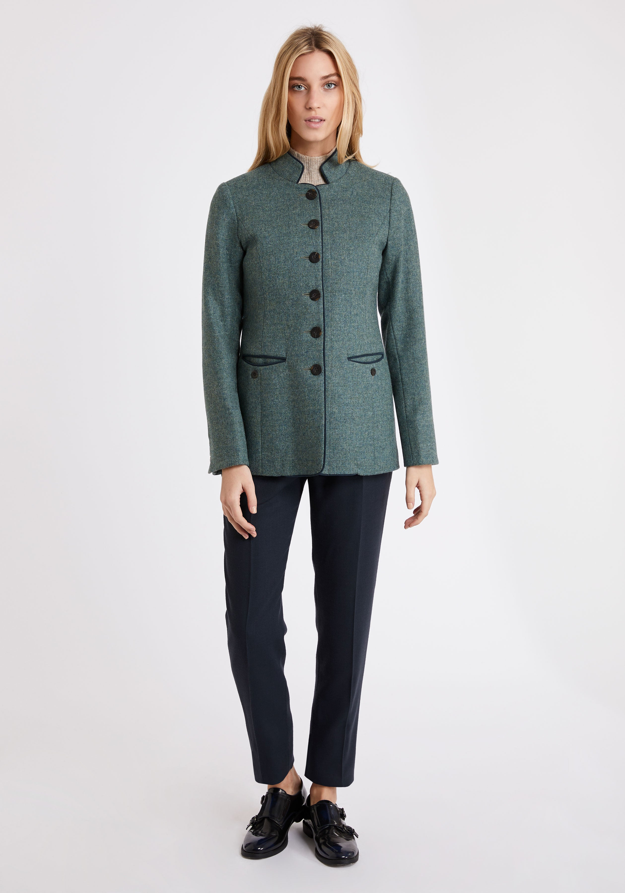 Patmos Jacket in Teal Herringbone