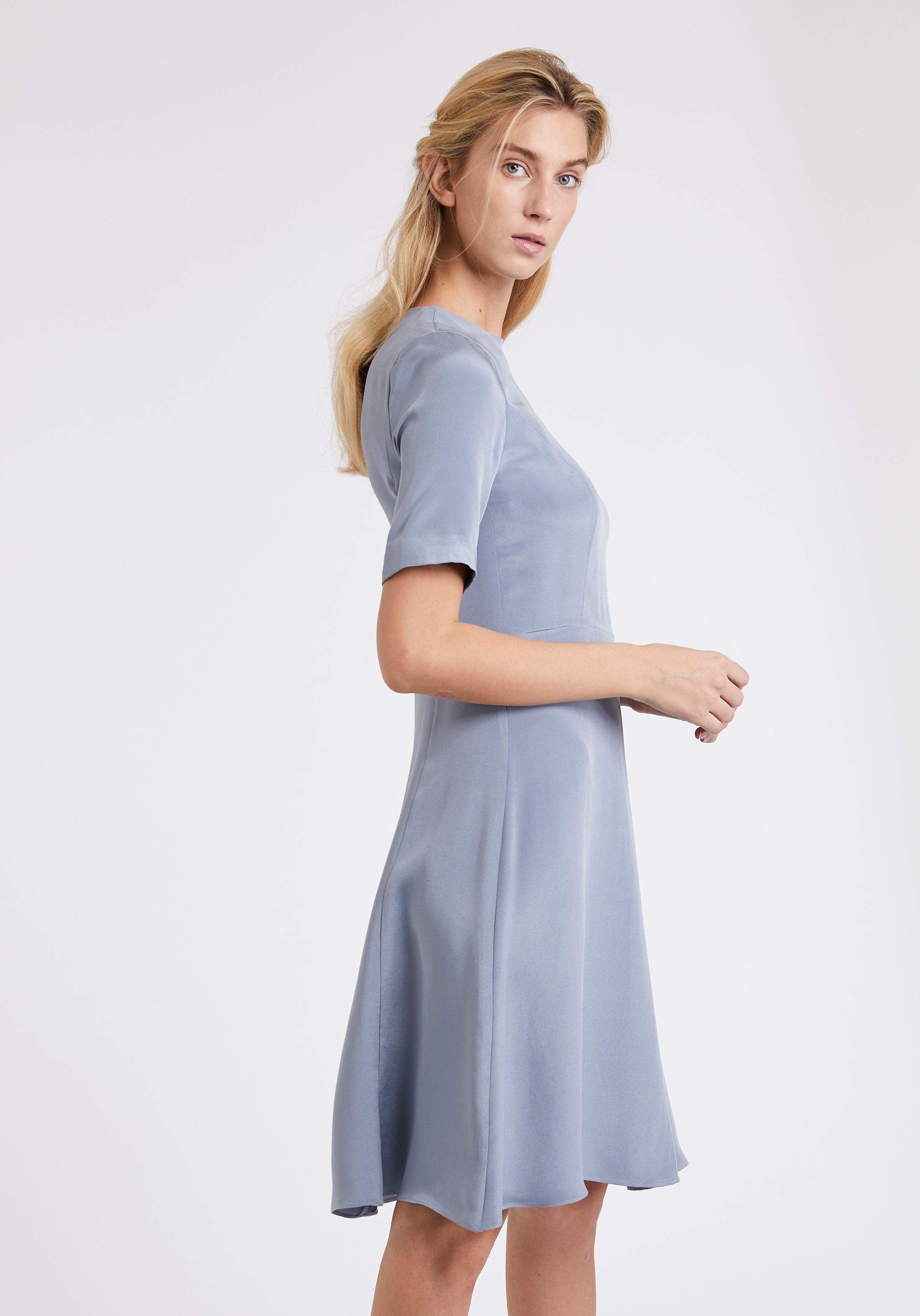 Stafford Dress in Pewter Silk