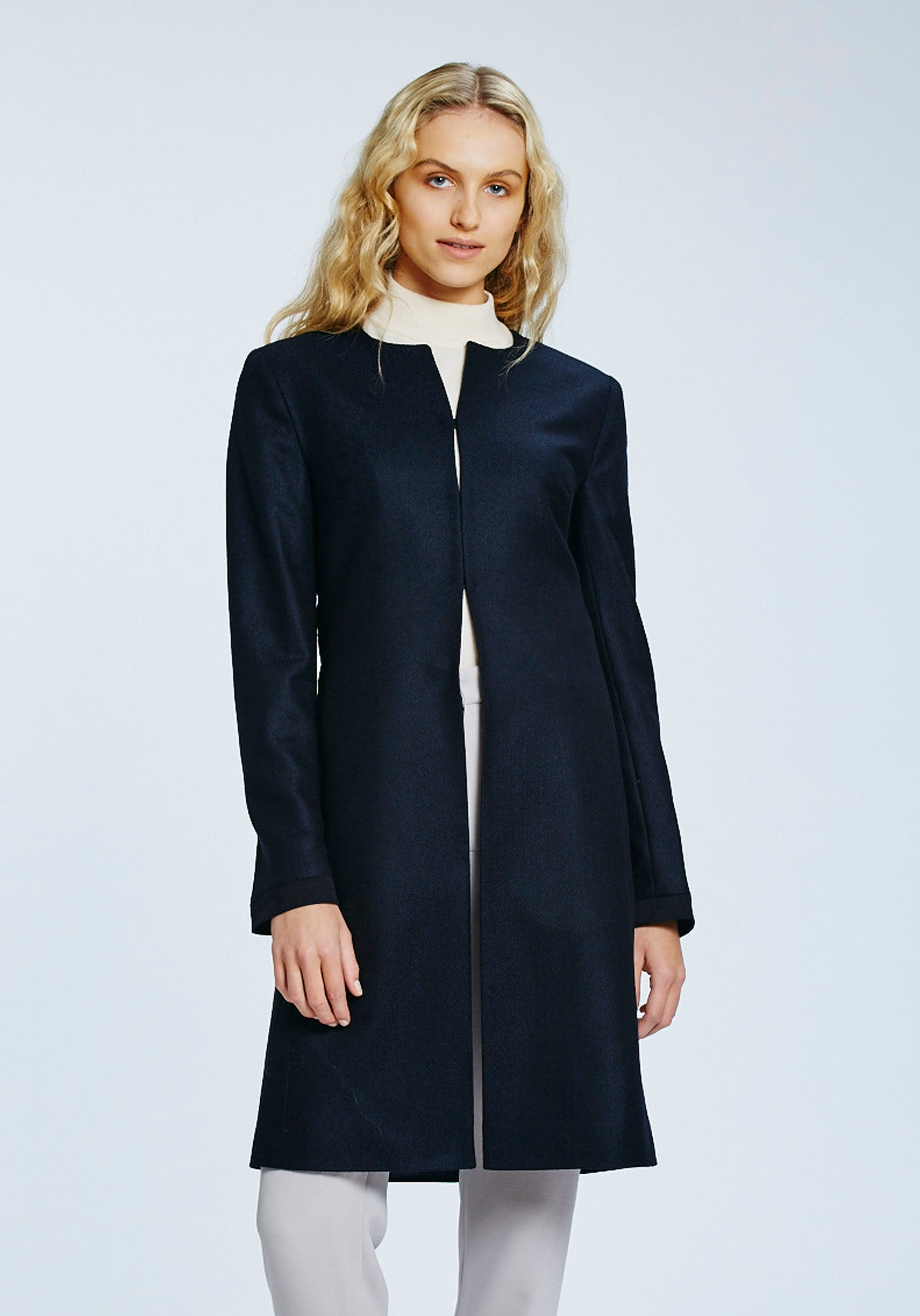 Tallulah Coat in Navy Herringbone