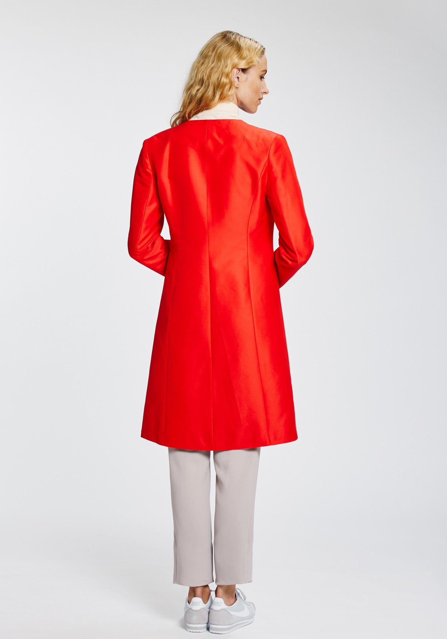 Tallulah Coat in Red Silk