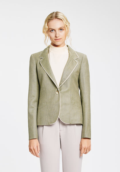 Tallulah Jacket in Olive & Oatmeal
