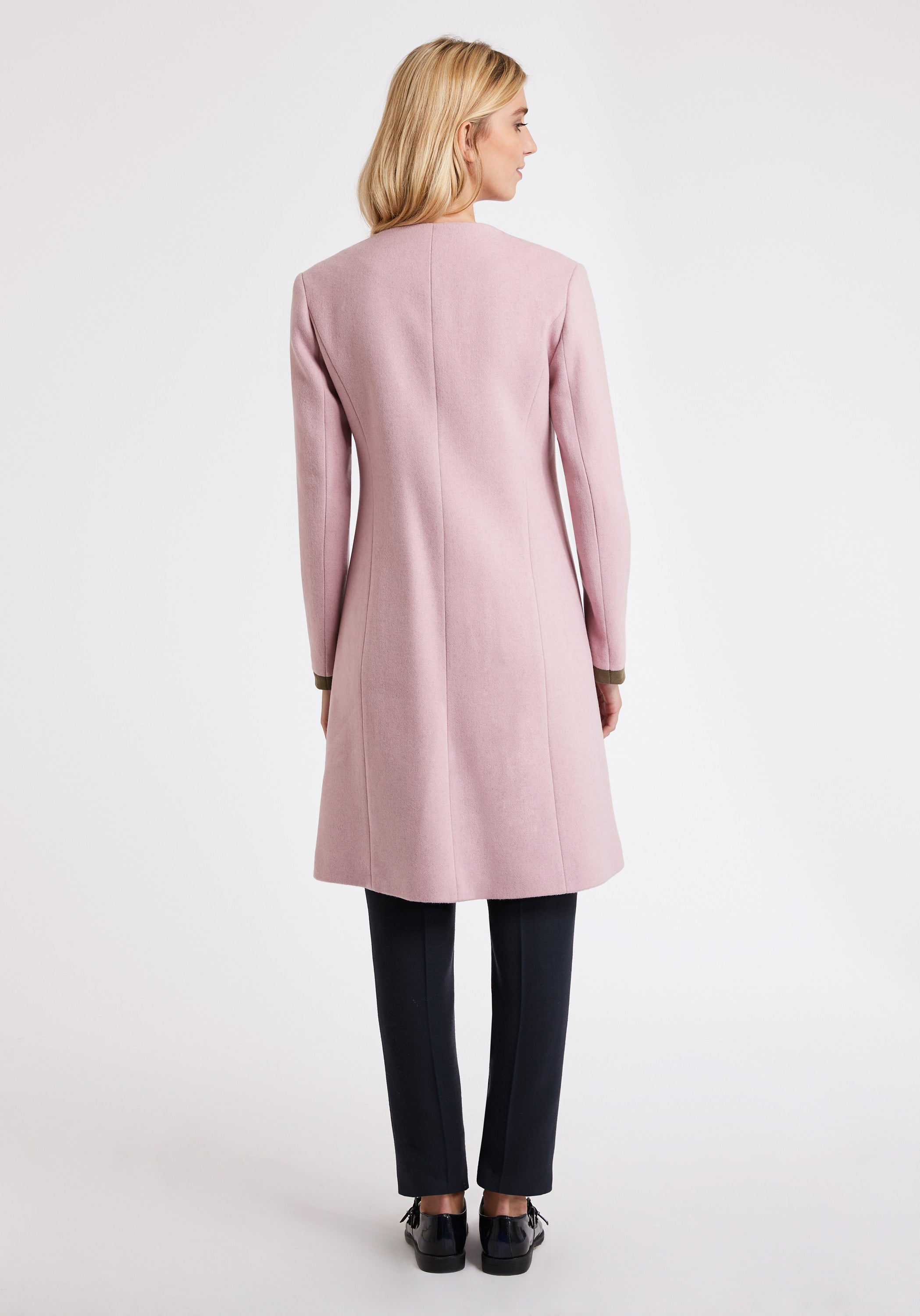 Tallulah Coat in Soft Pink Wool