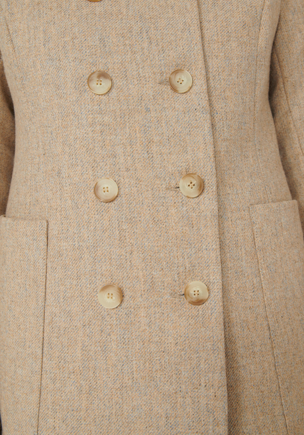 Artist Jacket | Pebble Peach Wool closeup buttons